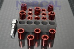 Hex Style Lug Nuts W/ Key Red