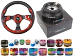 Nrg Quick Release Combo Nrg 320Mm Sport Leather Steering Wheel With Red Inserts