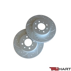 Truhart Front Brake Rotors (Cross-Drilled, Slotted, Cryo Coated) For 90-00 Civic Cx, Dx, Lx, Hx (Excl. Abs)
