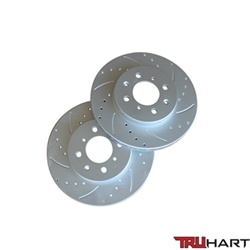 Truhart Front Brake Rotors (Cross-Drilled, Slotted, Cryo Coated) For 90-00 Ex/Si Civic / 94-01 Integra / 07-12 Fit