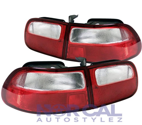 92 95 HONDA CIVIC RED CLEAR SI STYLE TAILLIGHTS 3DR