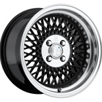 Klutch Sl1 15X8.5 4X100 +17 Black W/ Polished Lip Wheels