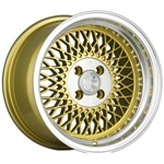 Klutch Sl1 15X8.5 4X100 +17 Gold W/ Polished Lip Wheels